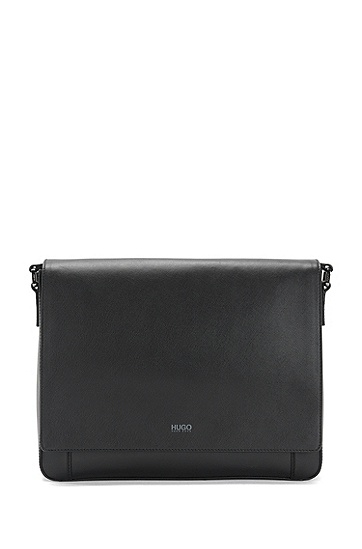 Messenger bag in leather: 'Digital_Mess flap', Black
