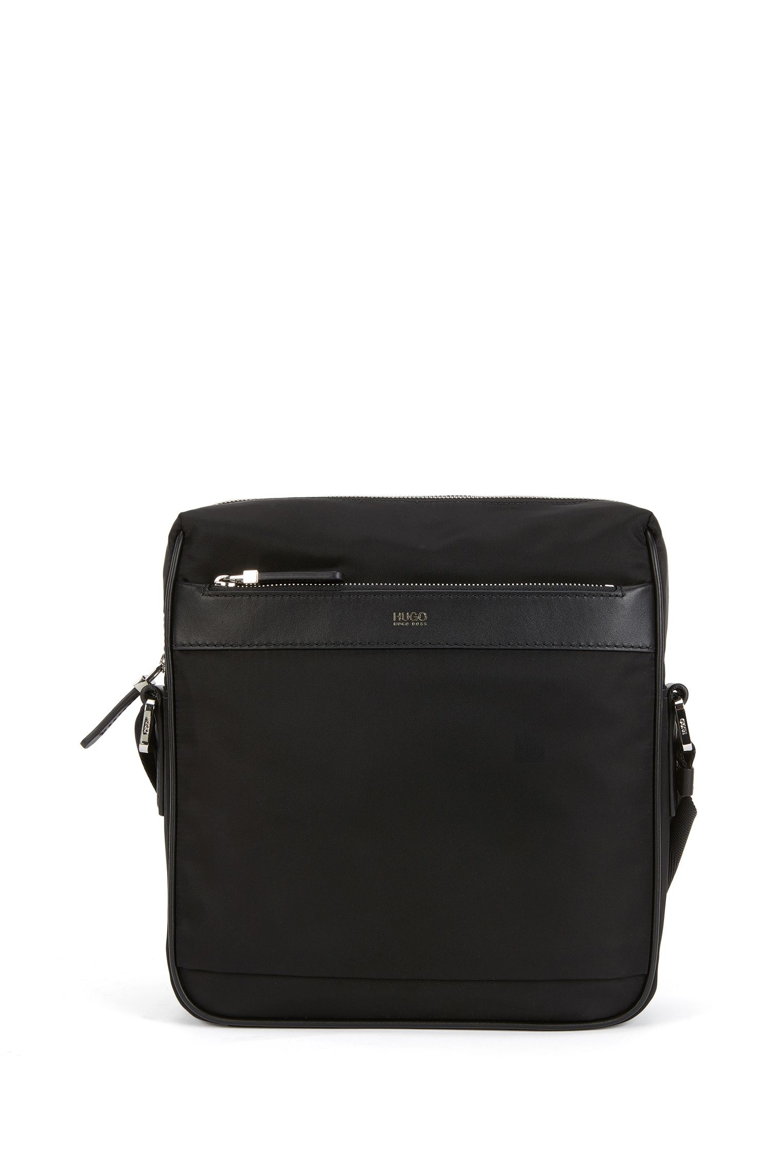 Lightweight cross-body bag with leather trim