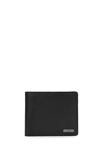 Geldbörse aus Leder mit Saffiano-Prägung: 'Digital_Trifold', Schwarz