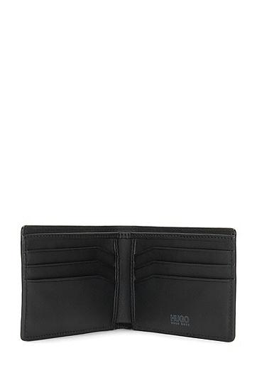 Kleinformatige Geldbörse aus Leder mit Saffiano-Prägung: 'Digital_6 cc', Schwarz