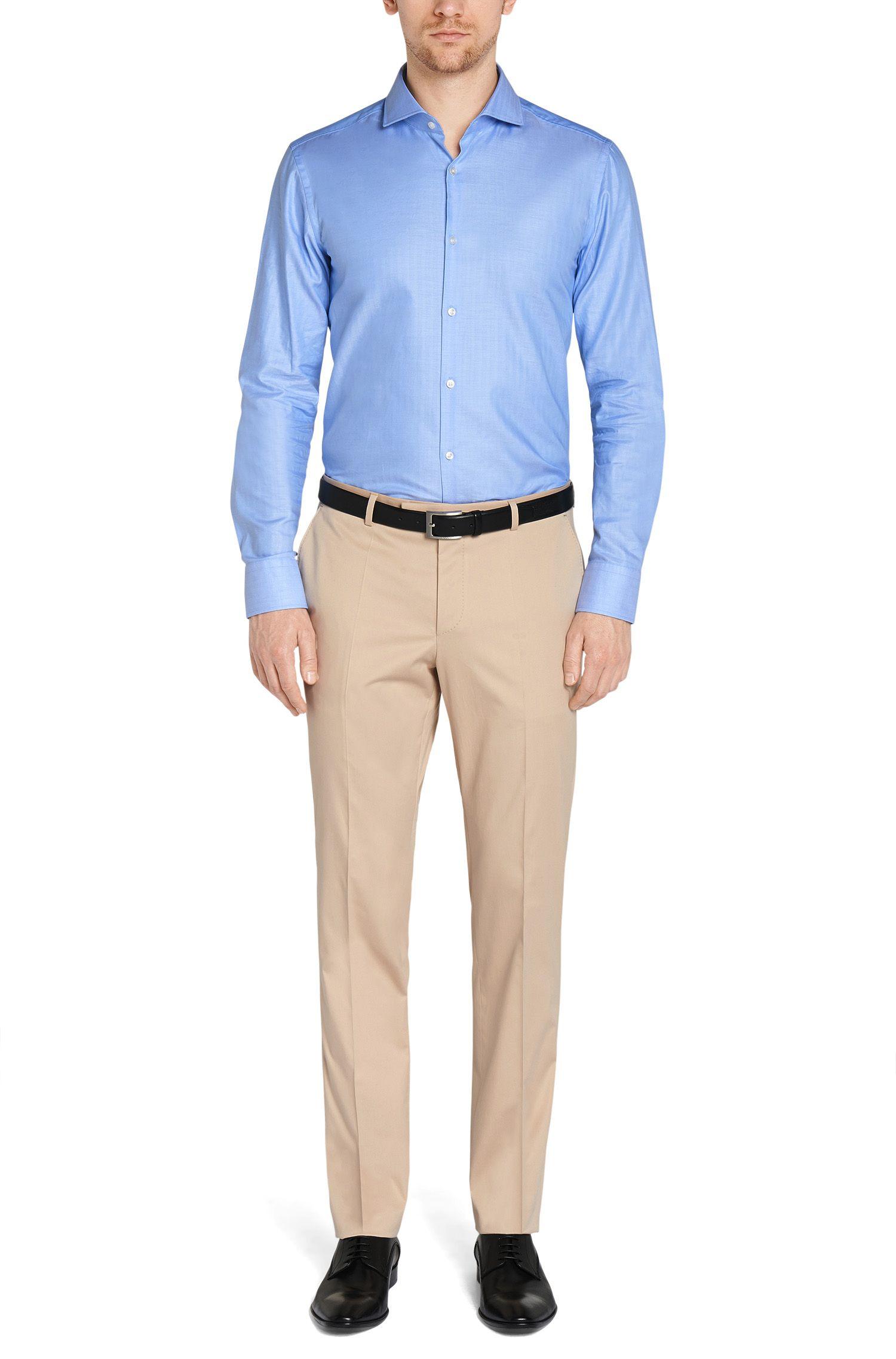 Pantalon uni Regular Fit en coton extensible: «Leenon»