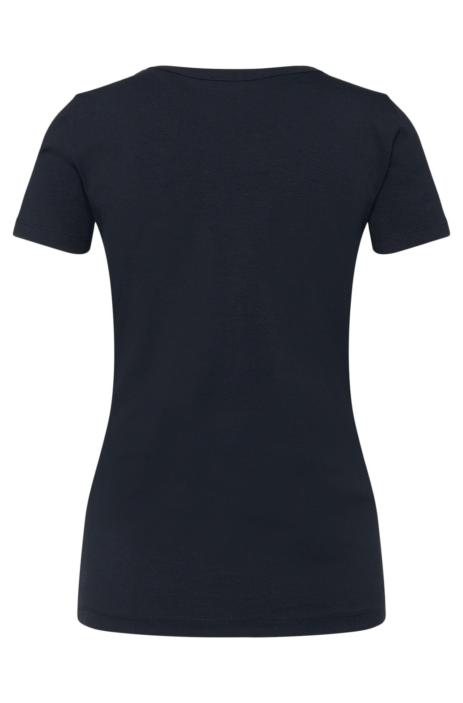 T-shirt van stretchkatoen met bies van chiffon: 'Enka_EoSP'