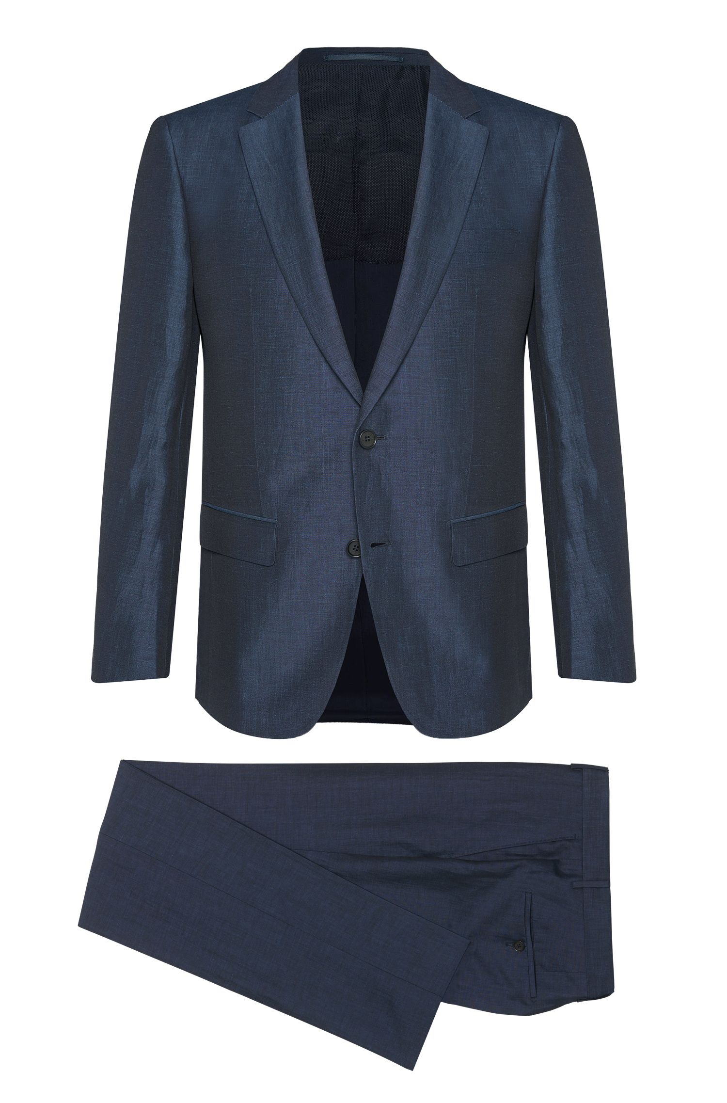 Slim-fit suit in linen blend with silk: 'T-Harvers1/Glover1'