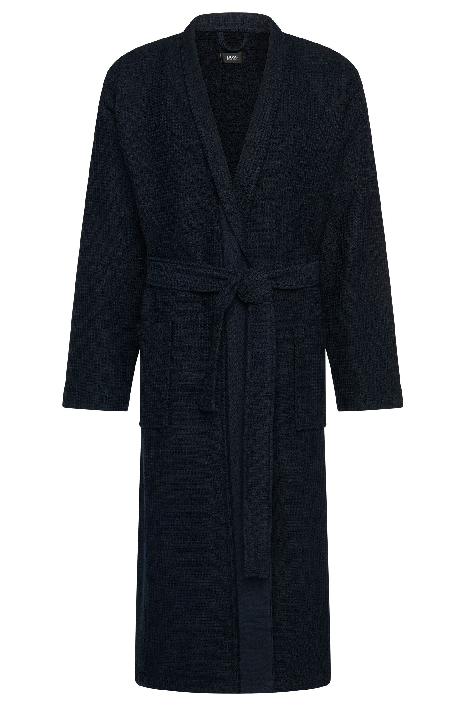 Textured bathrobe in cotton and viscose: 'Kimono'