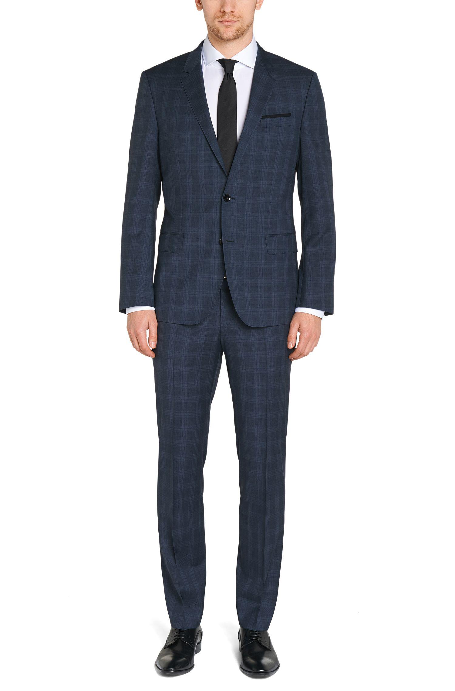 Karierter Slim-Fit Anzug aus Schurwolle: 'Huge4/Genuis3'