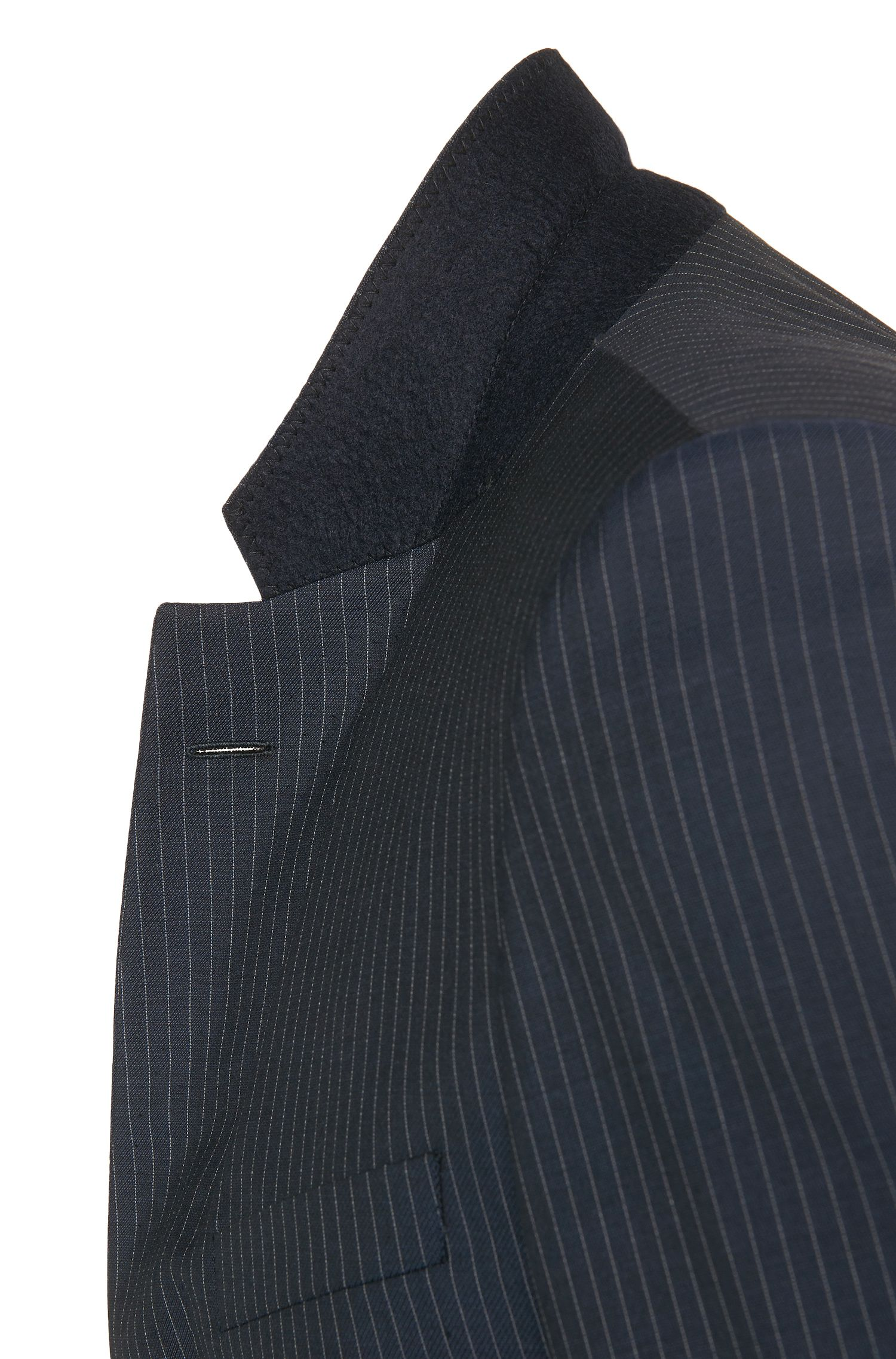 Costume Slim Fit en laine vierge mélangée à rayures tennis: «T-Harvers/Glover1»