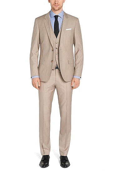 Slim-fit 3-piece suit in new-wool blend with silk: 'Huge4/Genius3 WE', Light Beige