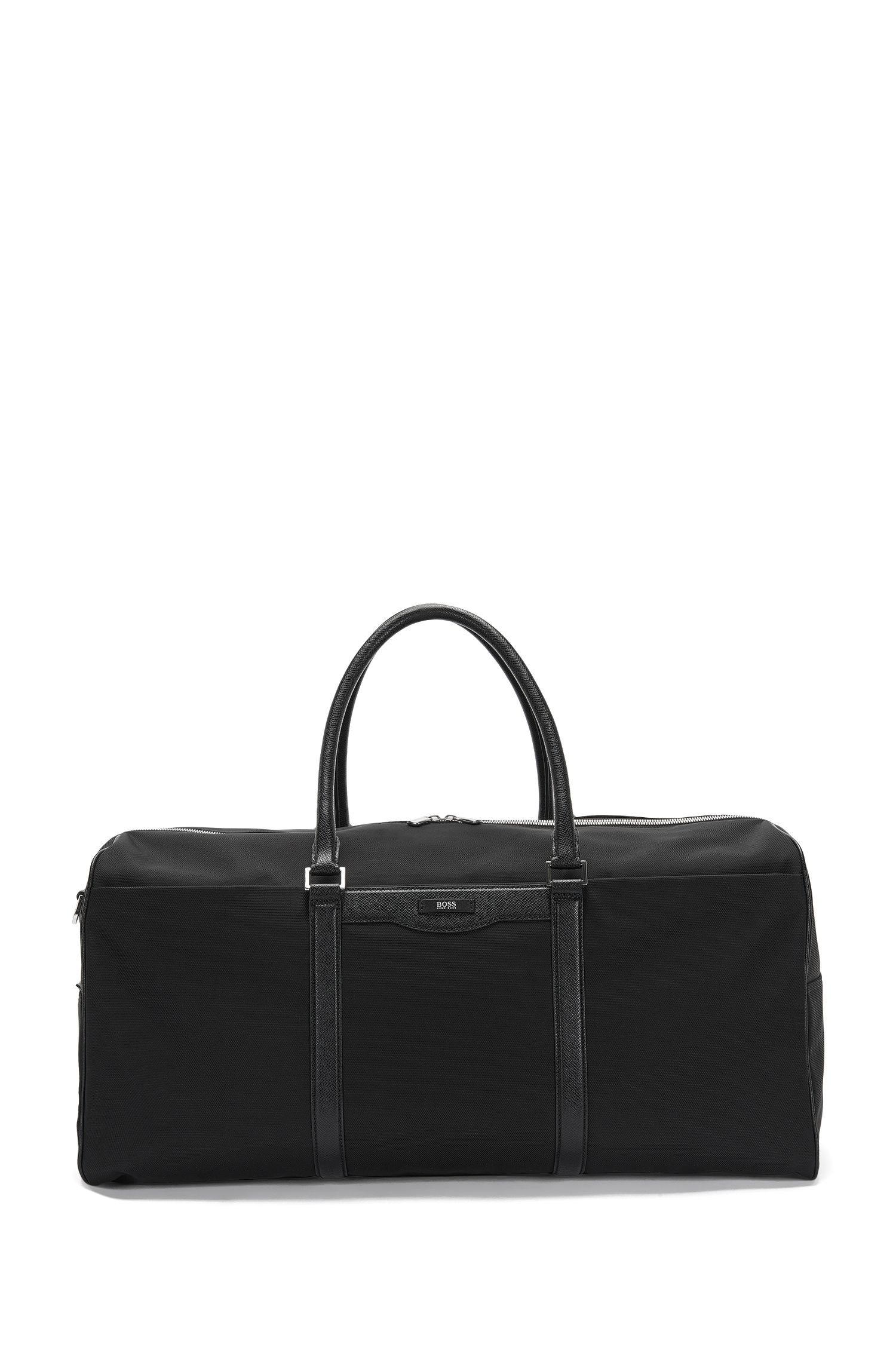 Weekender bag with leather detailing: 'Signature L_Hold'