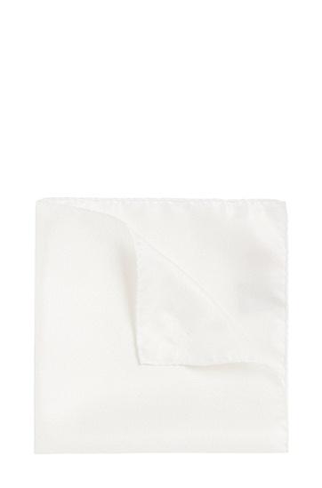 Effen pochet van zuivere zijde: 'Pocketsquare 33x33cm', Wit