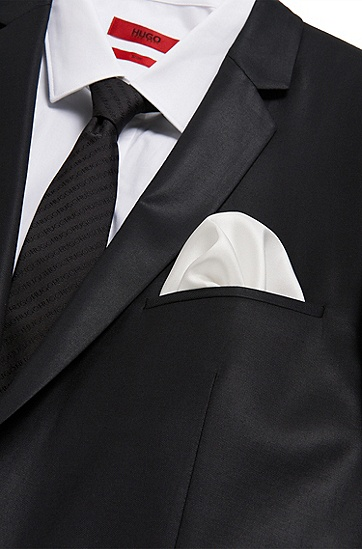 Plain pocket square in pure silk: 'Pocketsquare 33x33cm', Open White