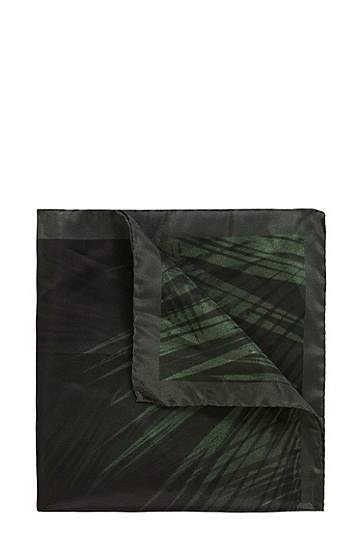 Patterned pocket square in pure silk: 'Pocketsquare 33 x 33 cm', Green