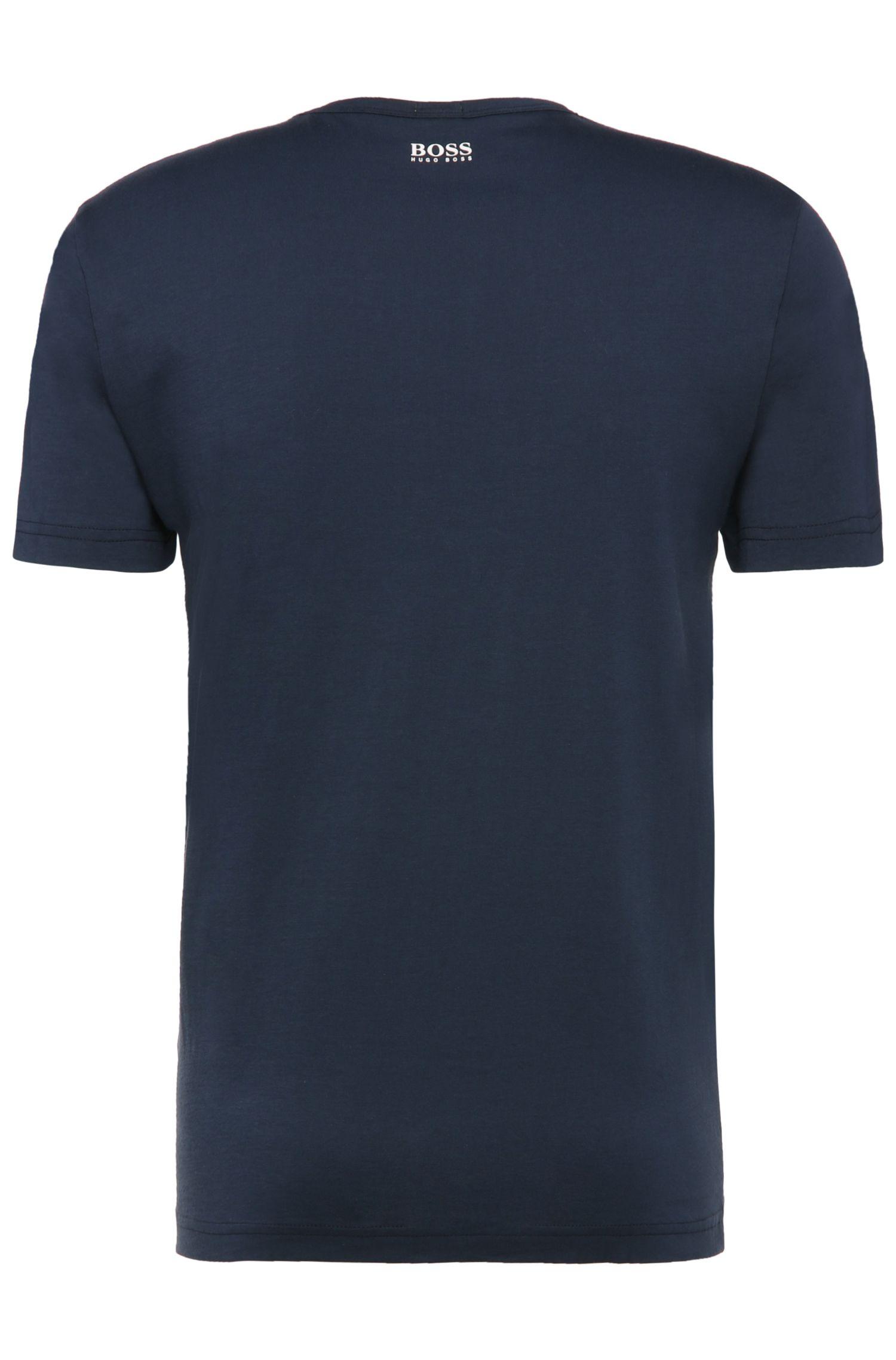 Regular-fit T-shirt van katoen met markante print: 'Tee 1'