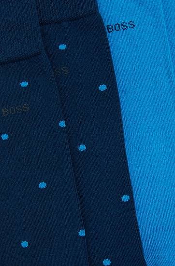 Zweier-Pack gepunktete Socken aus Baumwoll-Mix: 'Twopack RS Design', Dunkelblau