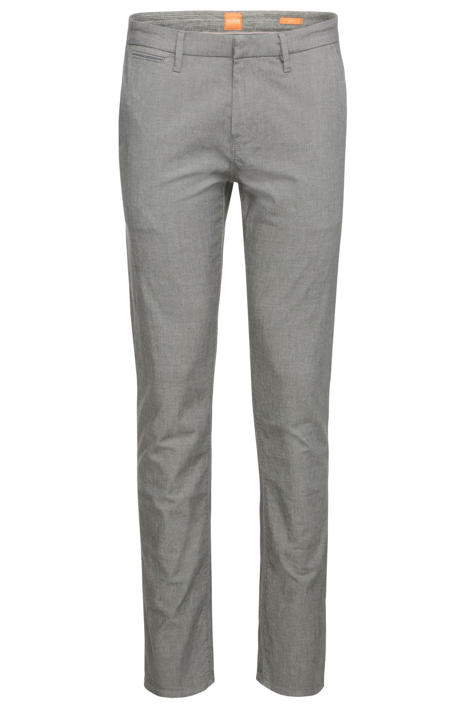 Slim-fit chinos in stretch cotton with a mottled look: 'Schino-Slim3-W'
