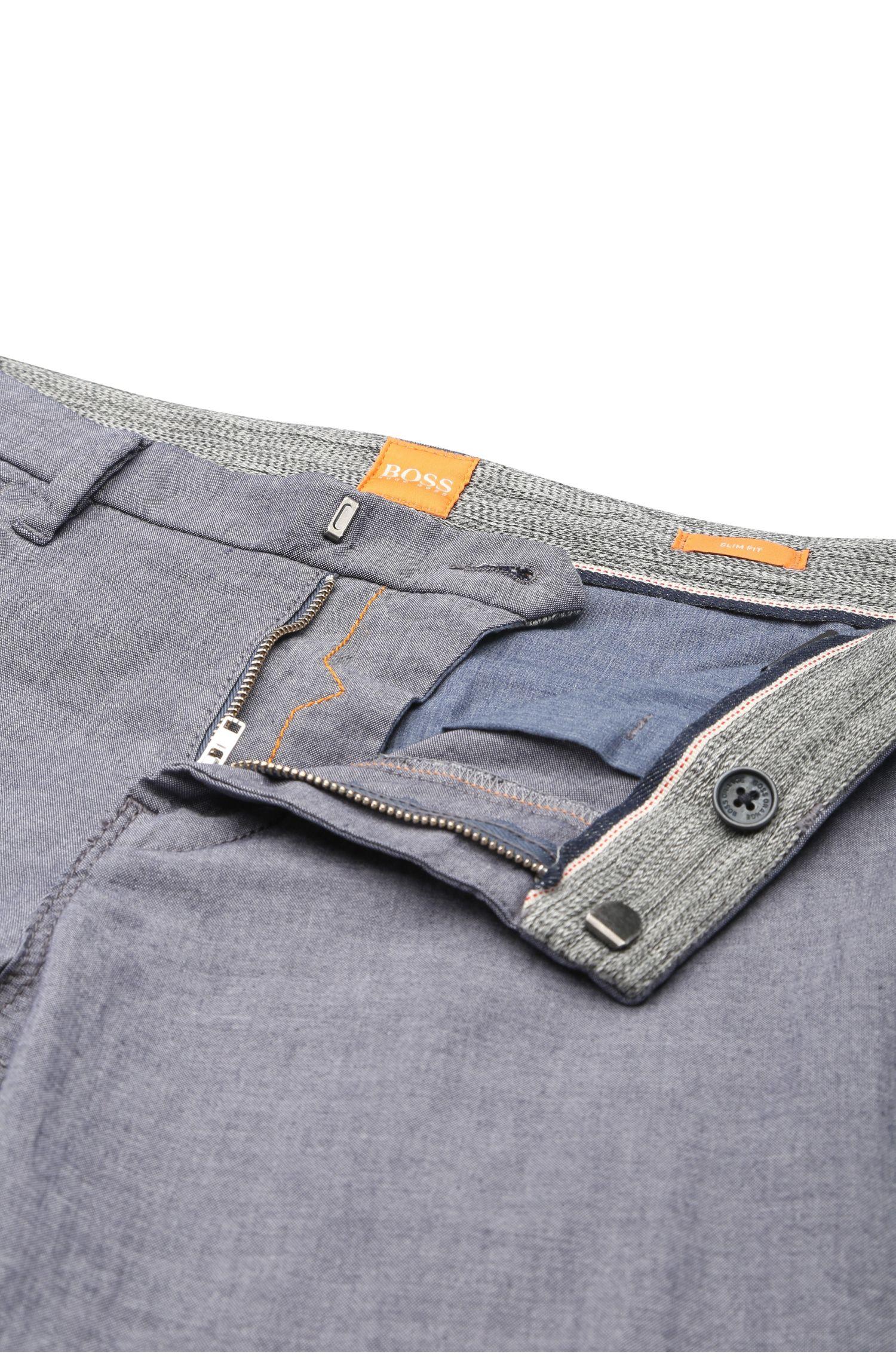 Chino Slim Fit en coton extensible à la finition chinée: «Schino-Slim3-W»
