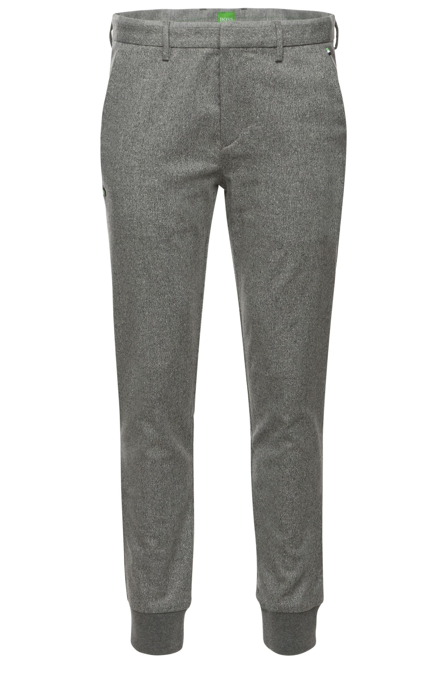 Pantalon Tapered Slim Fit en laine vierge mélangée extensible : « Loomes-W »