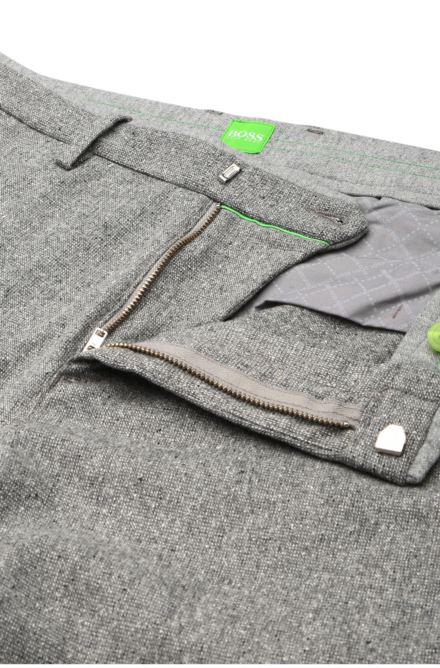 Tapered slim-fit broek van een elastische scheerwolmix: 'Loomes-W'