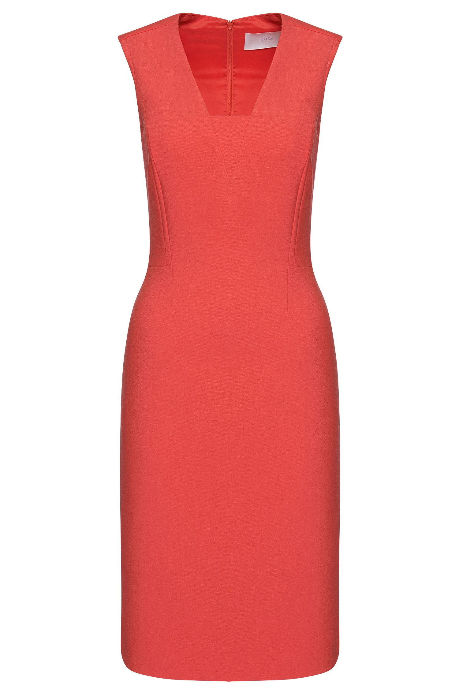 Sheath dress with tone-on-tone insert in fabric blend: 'Dasala'