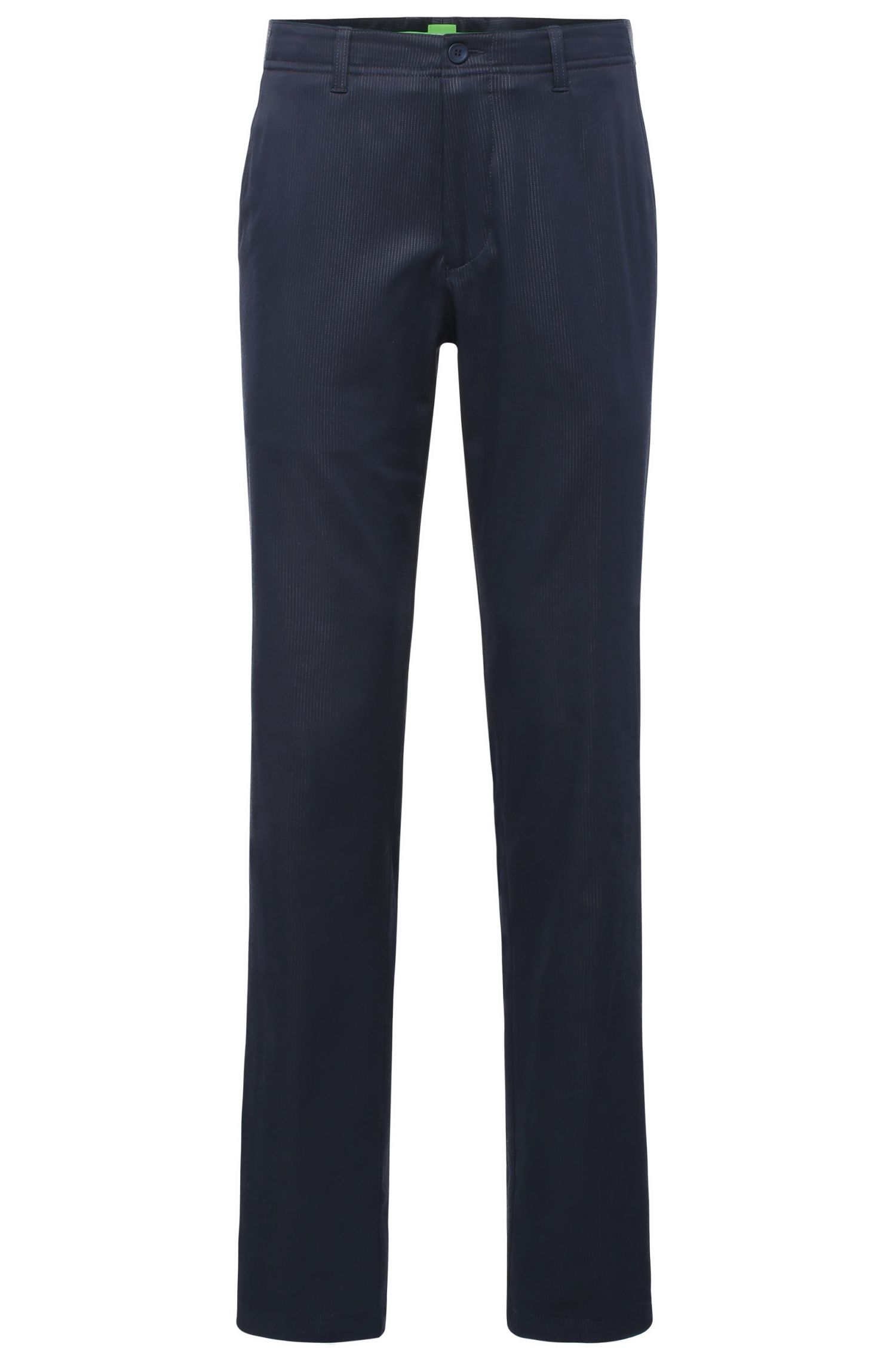 Slim-fit trousers in fabric blend with cotton and elastane: 'Hakan 7'