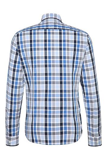 Regular-Fit Hemd aus Baumwolle mit Karos: ´C-Bansi`, Dunkelblau