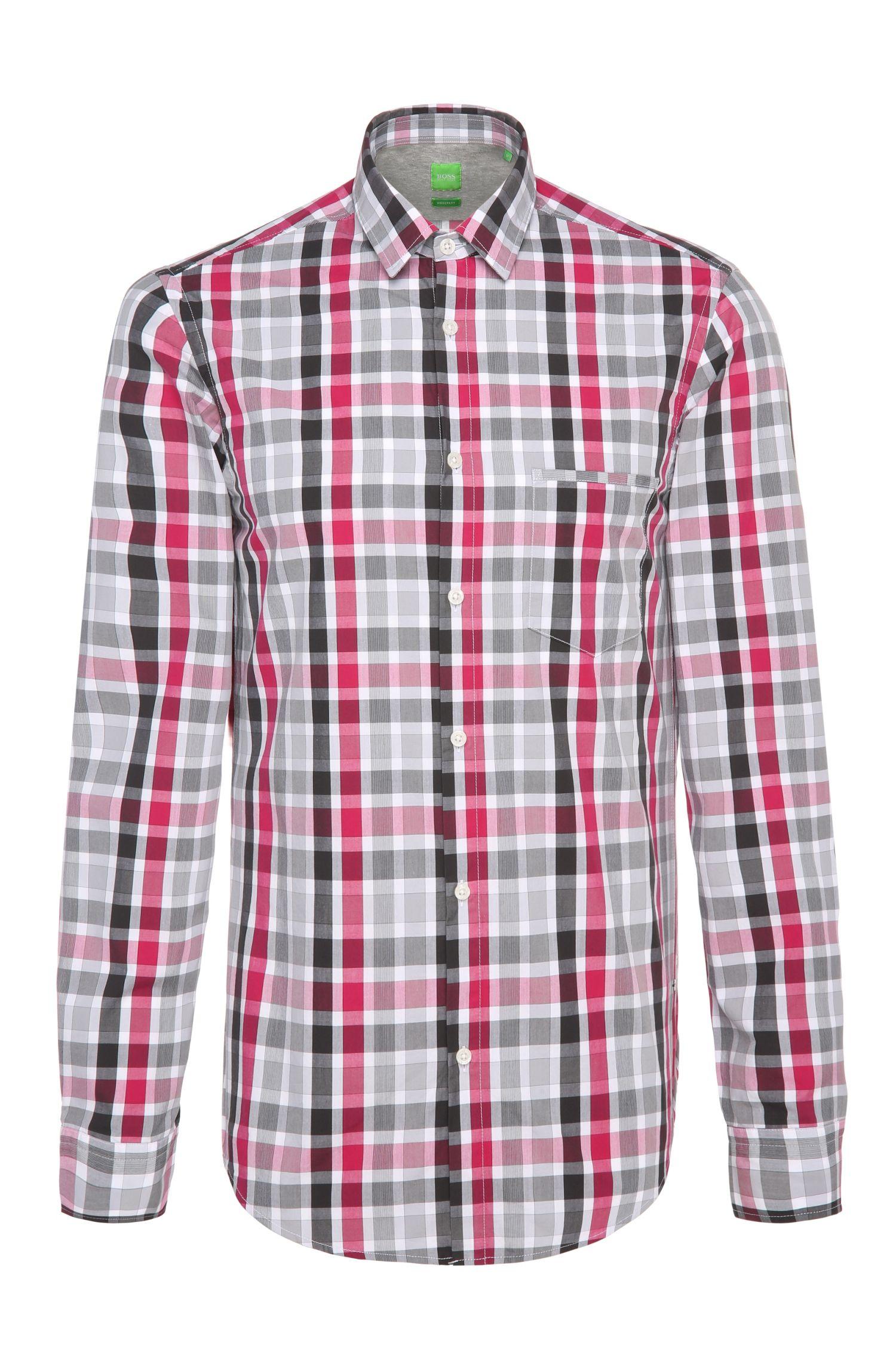 Chemise Regular Fit en coton à carreaux: «C-Bansi»