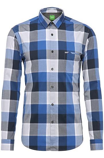 Regular-Fit Baumwollhemd mit großen Karos: ´C-Bansi`, Blau