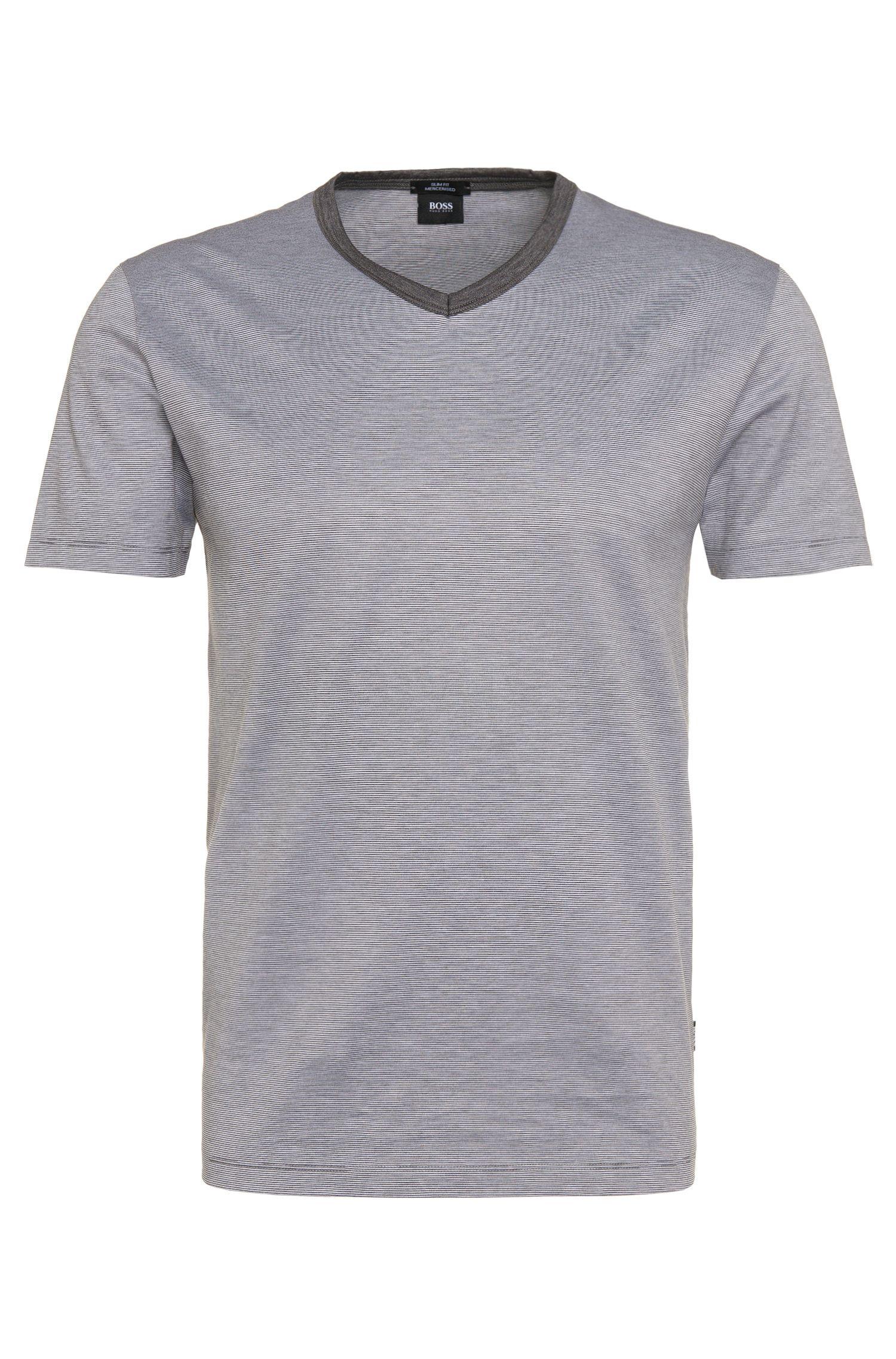 T-shirt Slim Fit à rayures en coton mercerisé: «Teal08»