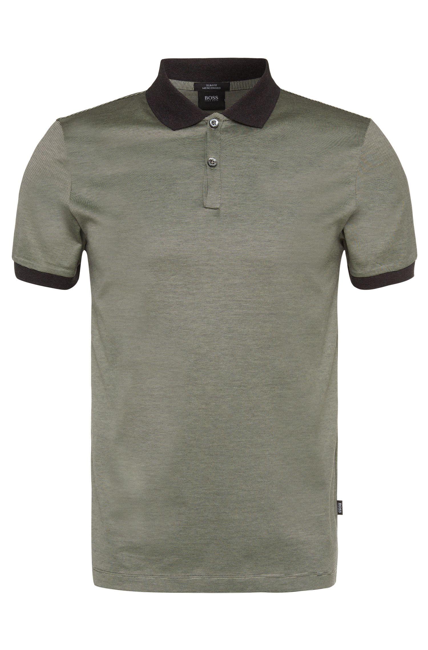 Polo slim fit, in cotone, con motivo a righe: 'Penrose 05'