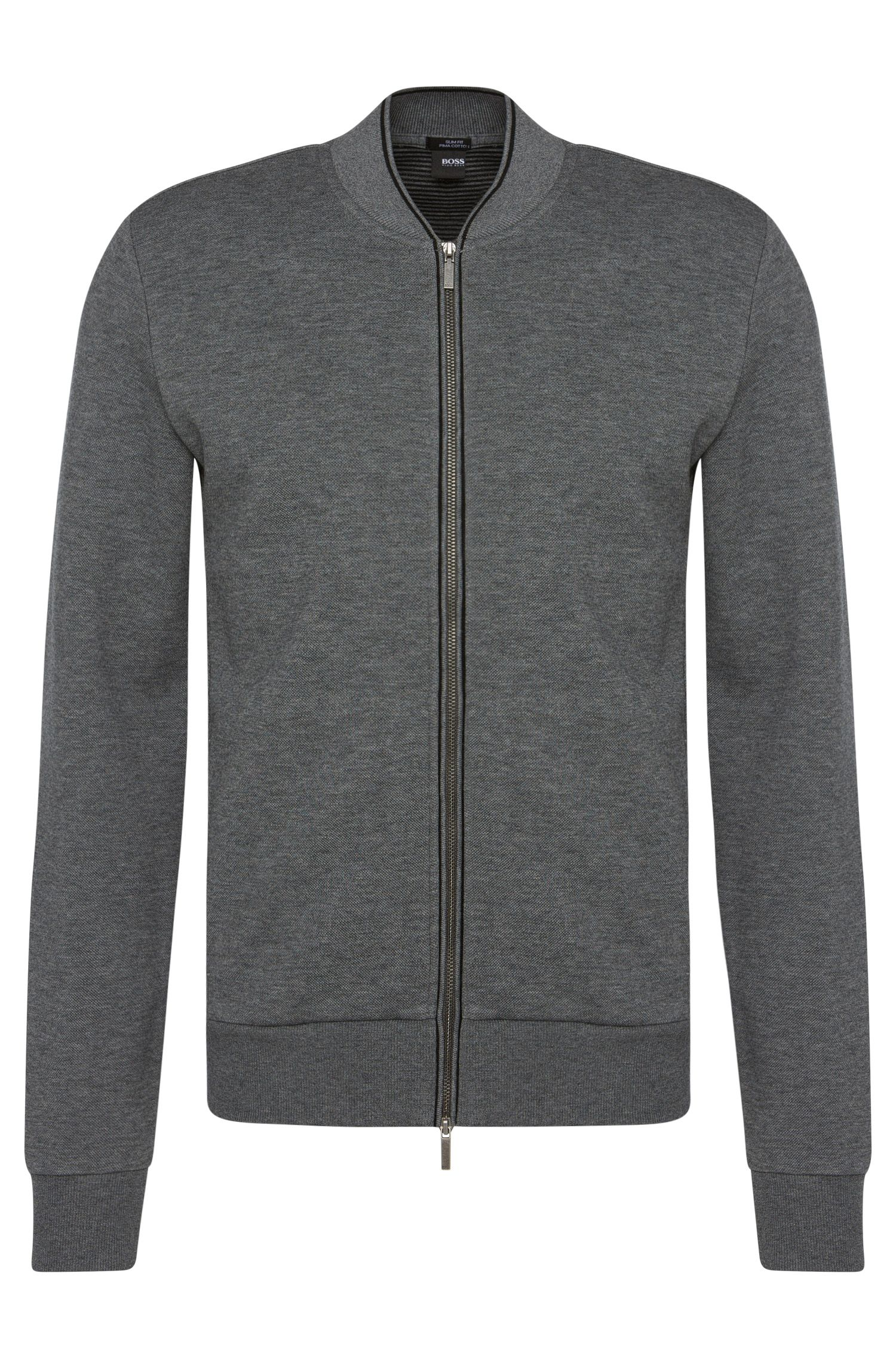 Slim-fit cotton-blend sweat jacket with a ribbed collar: 'Soule 03'