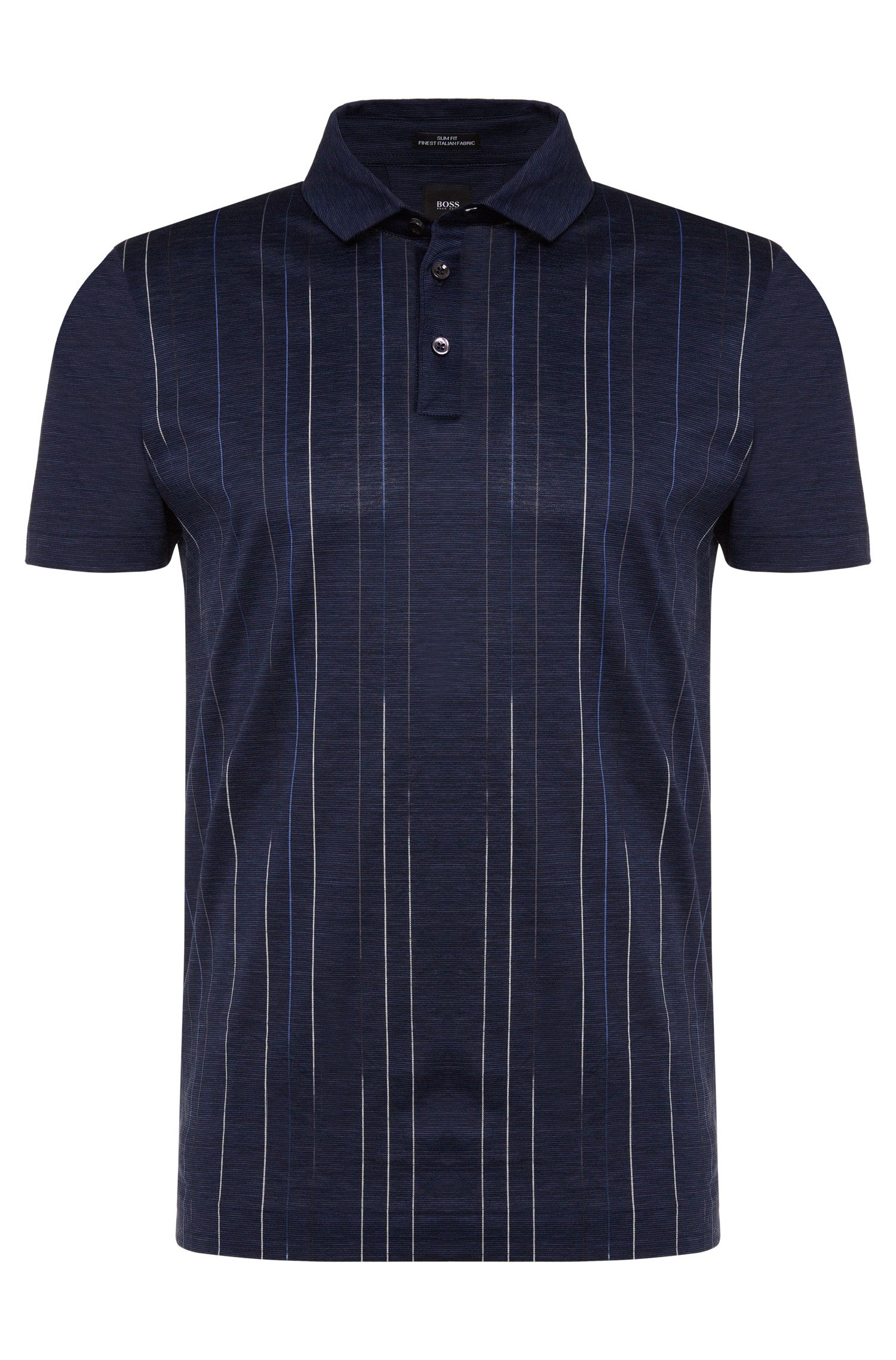 Polo slim fit a righe sottili in cotone: 'T-Preston 05'