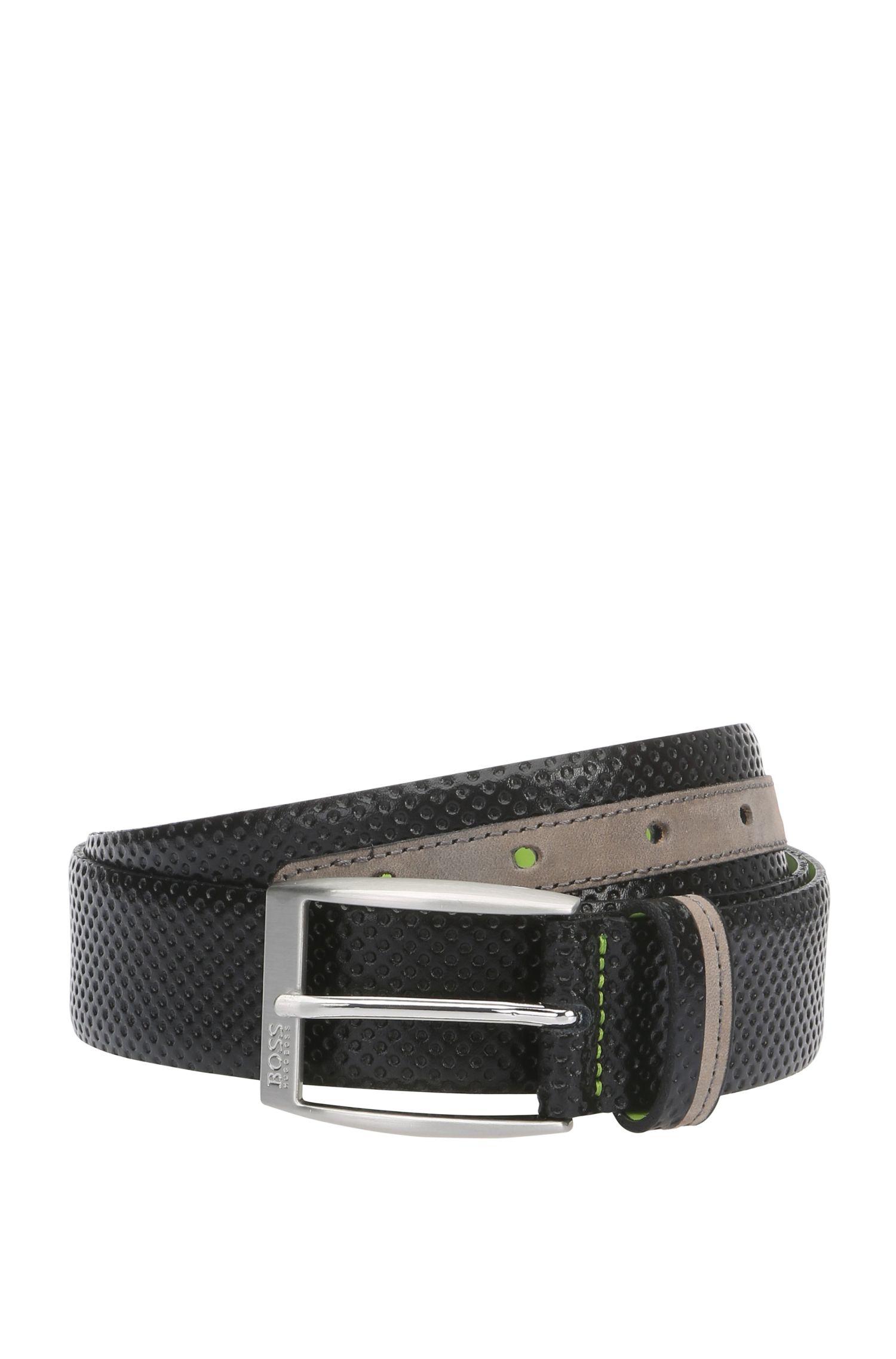 Cintura in pelle con stampa traforata: 'Theo_Sz35_mx'