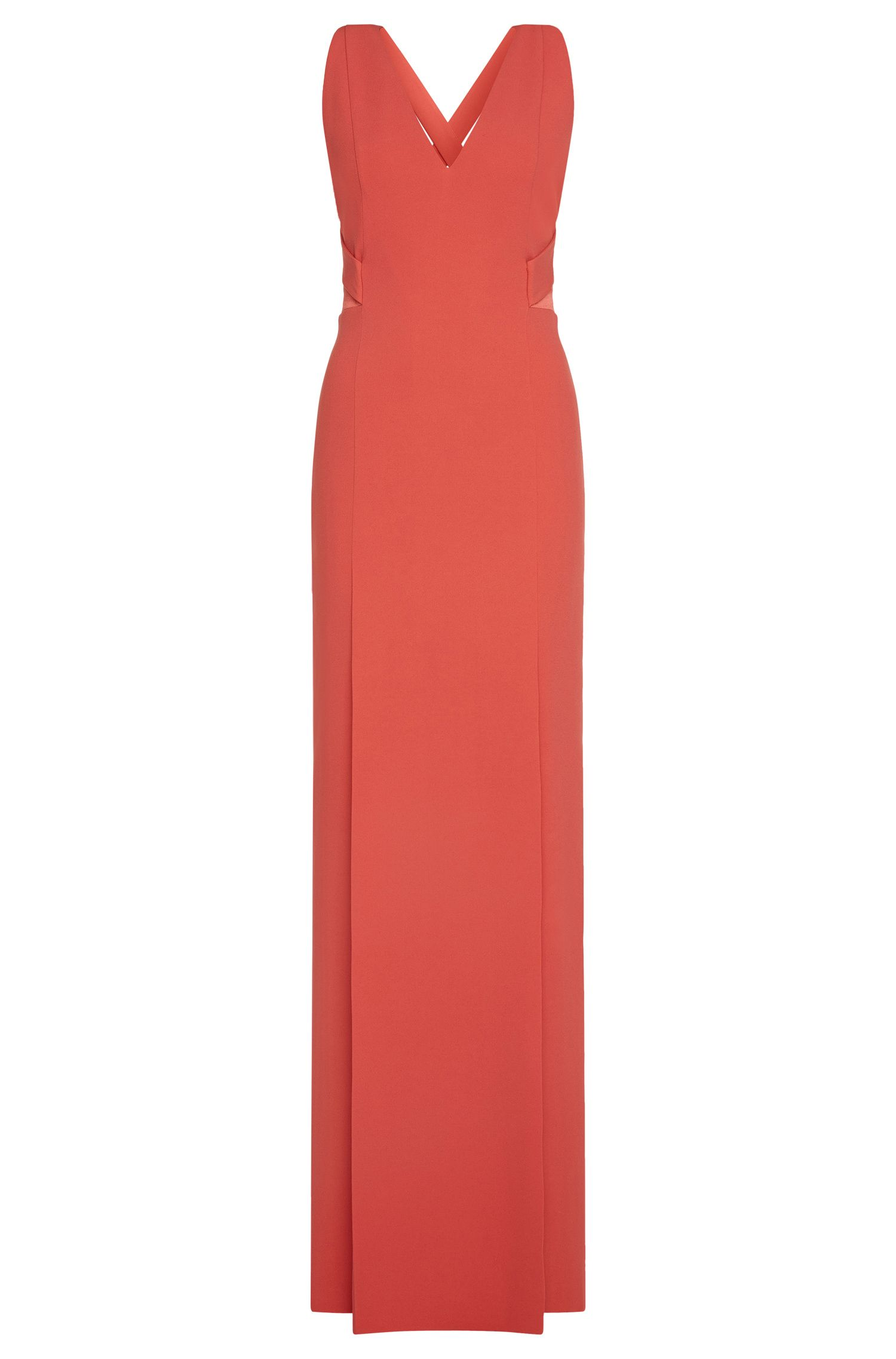 Fitted maxi dress with crossed back straps: 'Dimilina'