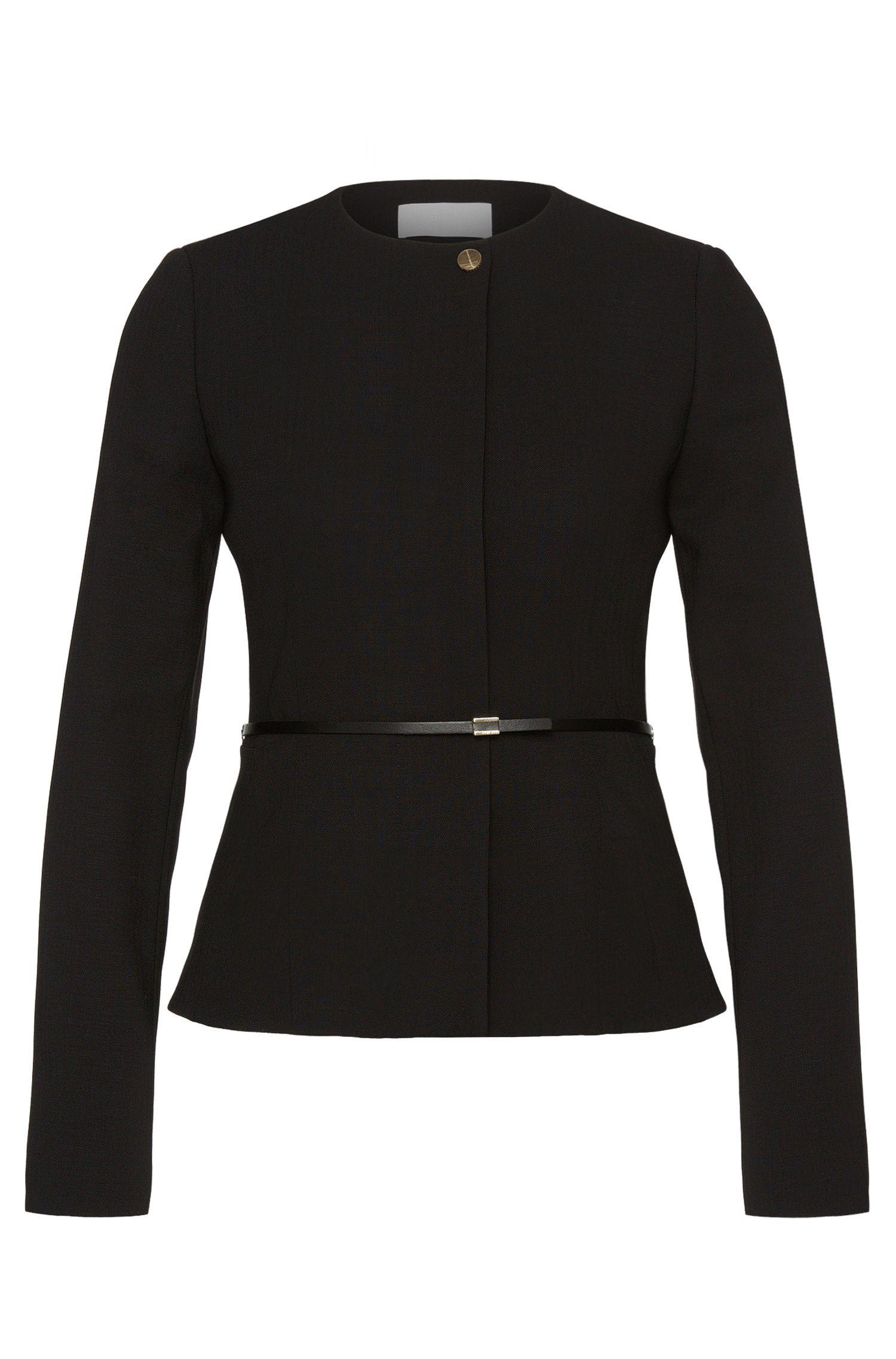 Blazer Slim Fit en laine vierge extensible pourvu d'une ceinture à la taille: «Juenisa»