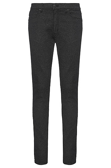 Slim-Fit Jeans aus elastischem Material-Mix: 'HUGO 734', Schwarz