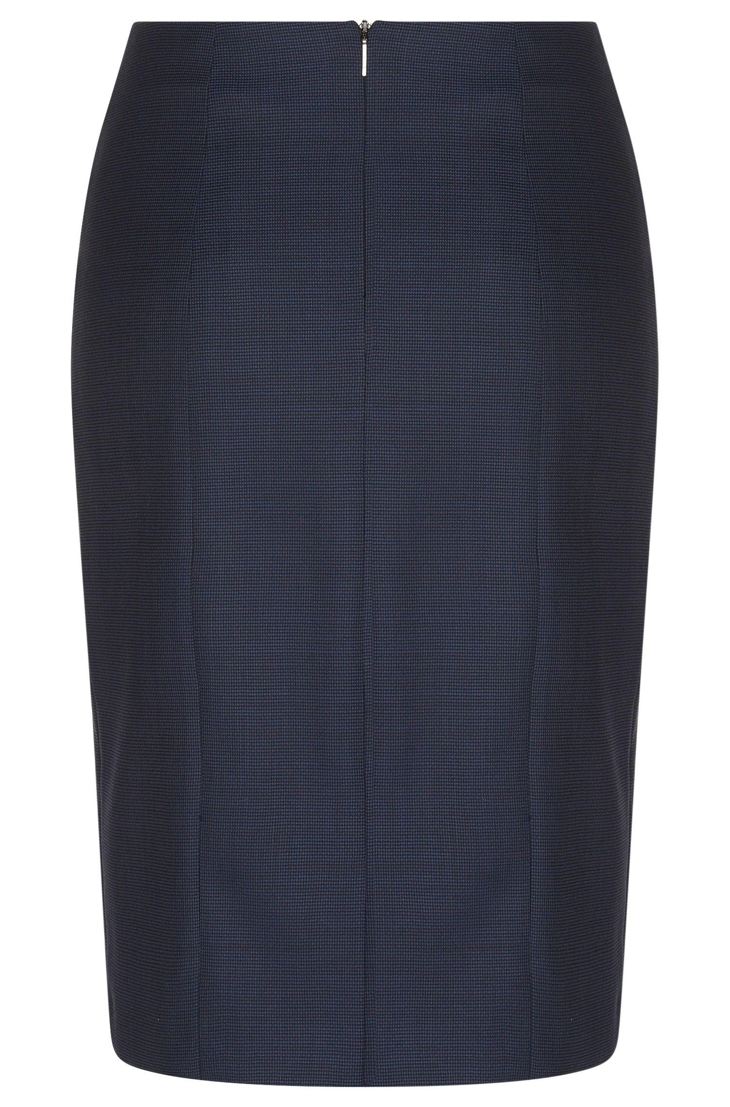 Jupe crayon à carreaux fins, confectionnée en laine vierge stretch: «Vitobia»