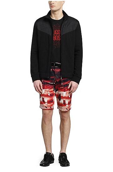 Regular-Fit T-Shirt aus Stretch-Baumwolle mit Frontprint: ´Tee 7`, Schwarz