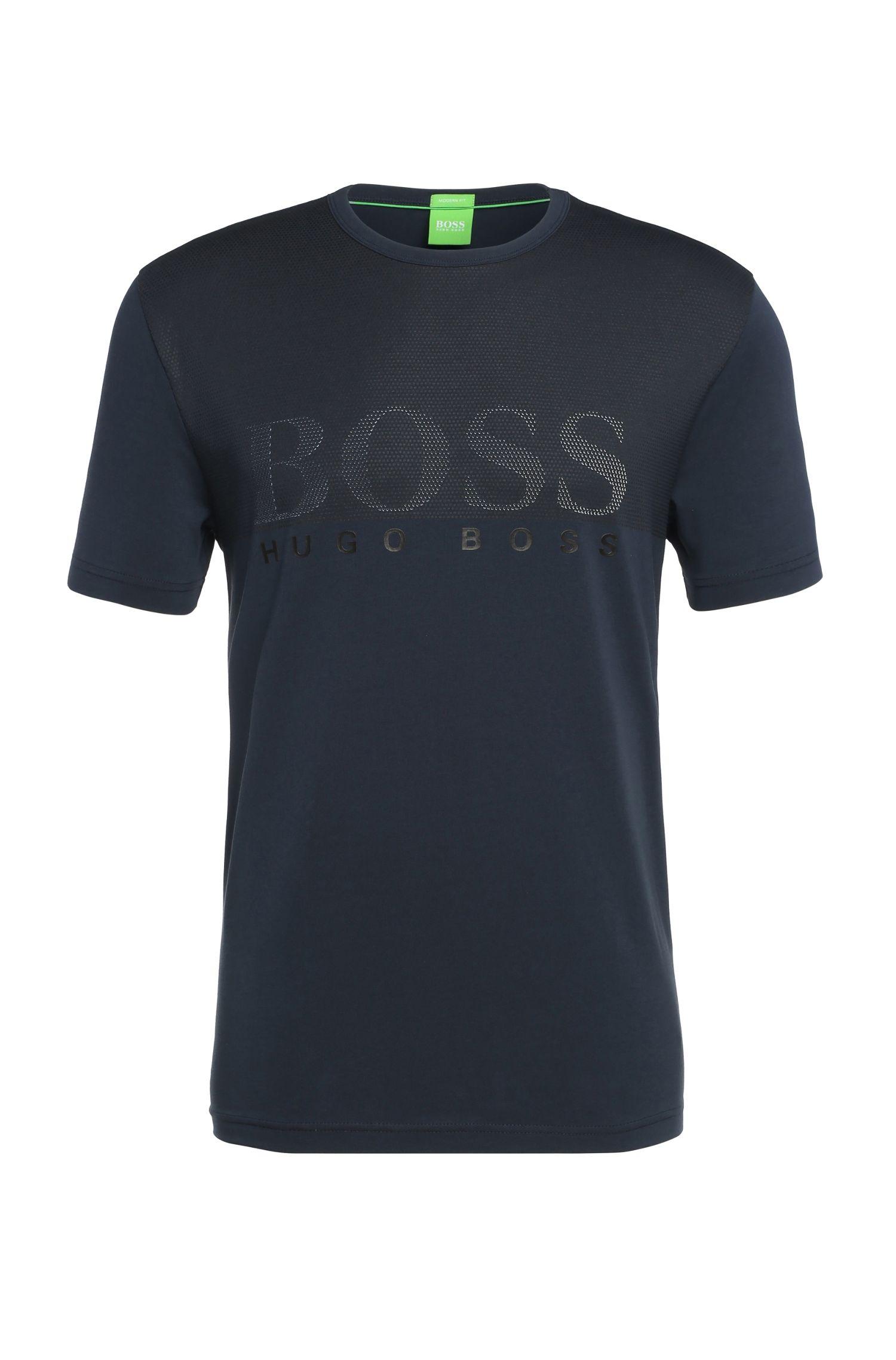 Regular-fit T-shirt van elastische katoen met print: 'Tee 8'