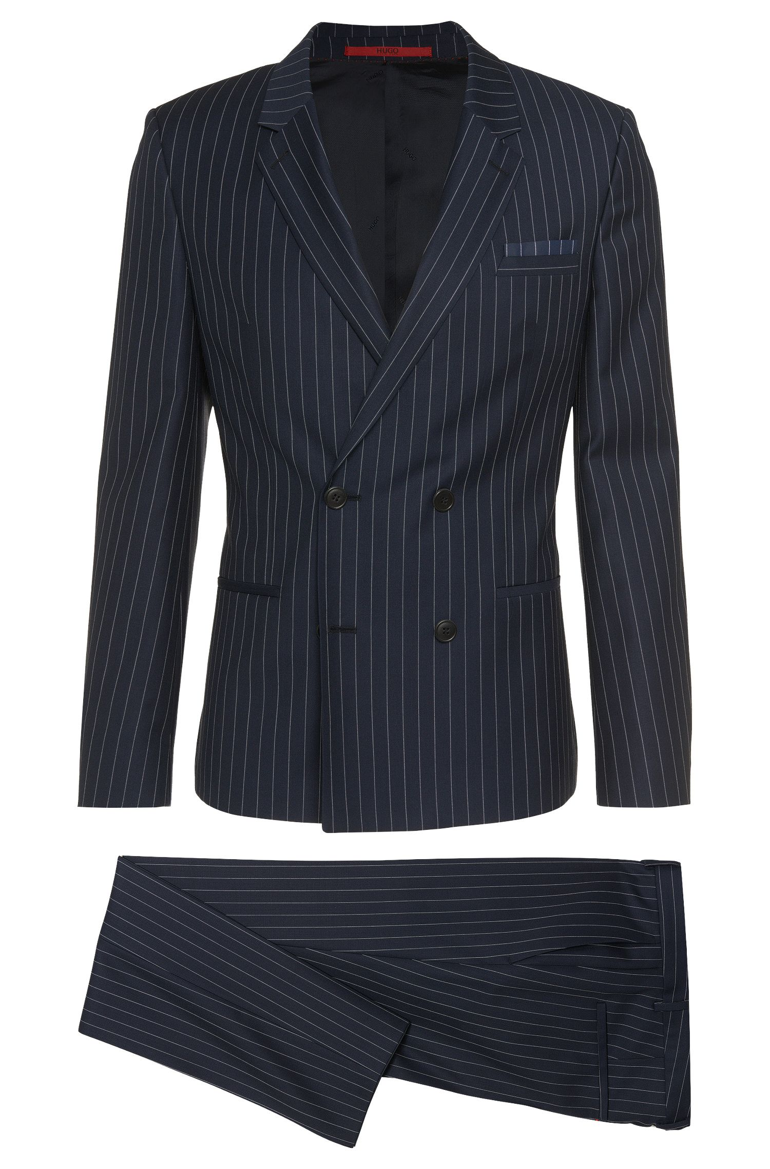 Slim-fit suit in new wool with a pinstriped pattern: 'Aralt/Herlon'