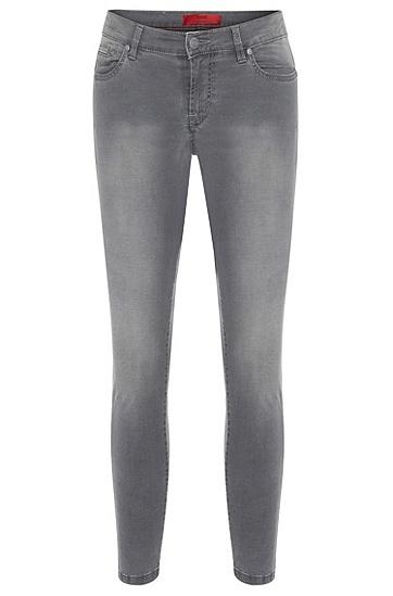 Skinny-Fit Jeans mit dekorativen Reißverschlüssen: 'Gilljana/7', Grau