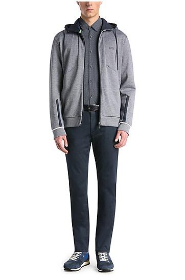 Gemustertes Slim-Fit Hemd aus elastischer Baumwolle: ´Barbe`, Dunkelblau