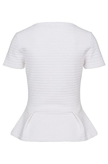 T-Shirt aus strukturierter Stretch-Baumwolle: 'Nelice', Natur