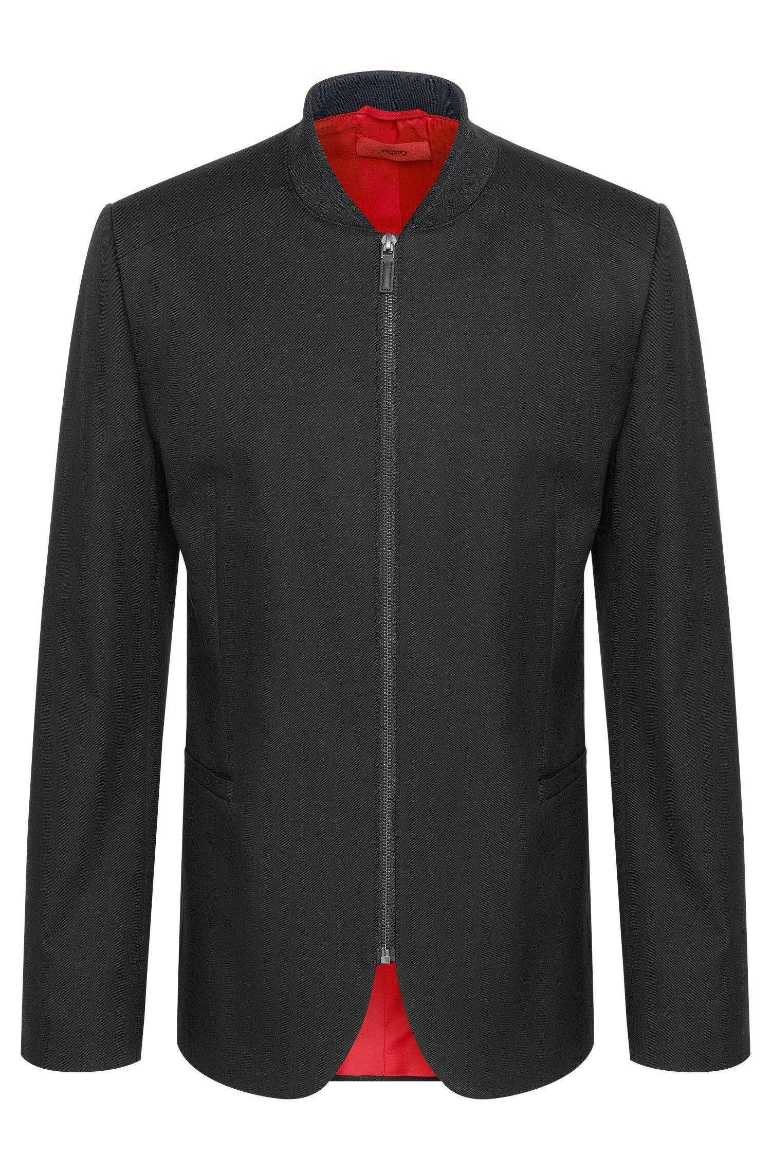 Veste de costume Comfort Fit en coton stretch avec zip: «Ablin»