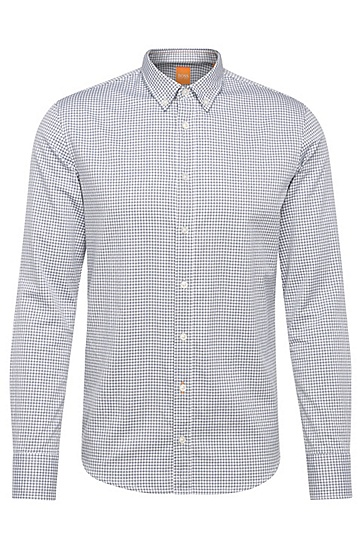 Slim-Fit Hemd aus karierter Baumwolle: ´EdipoE`, Dunkelblau