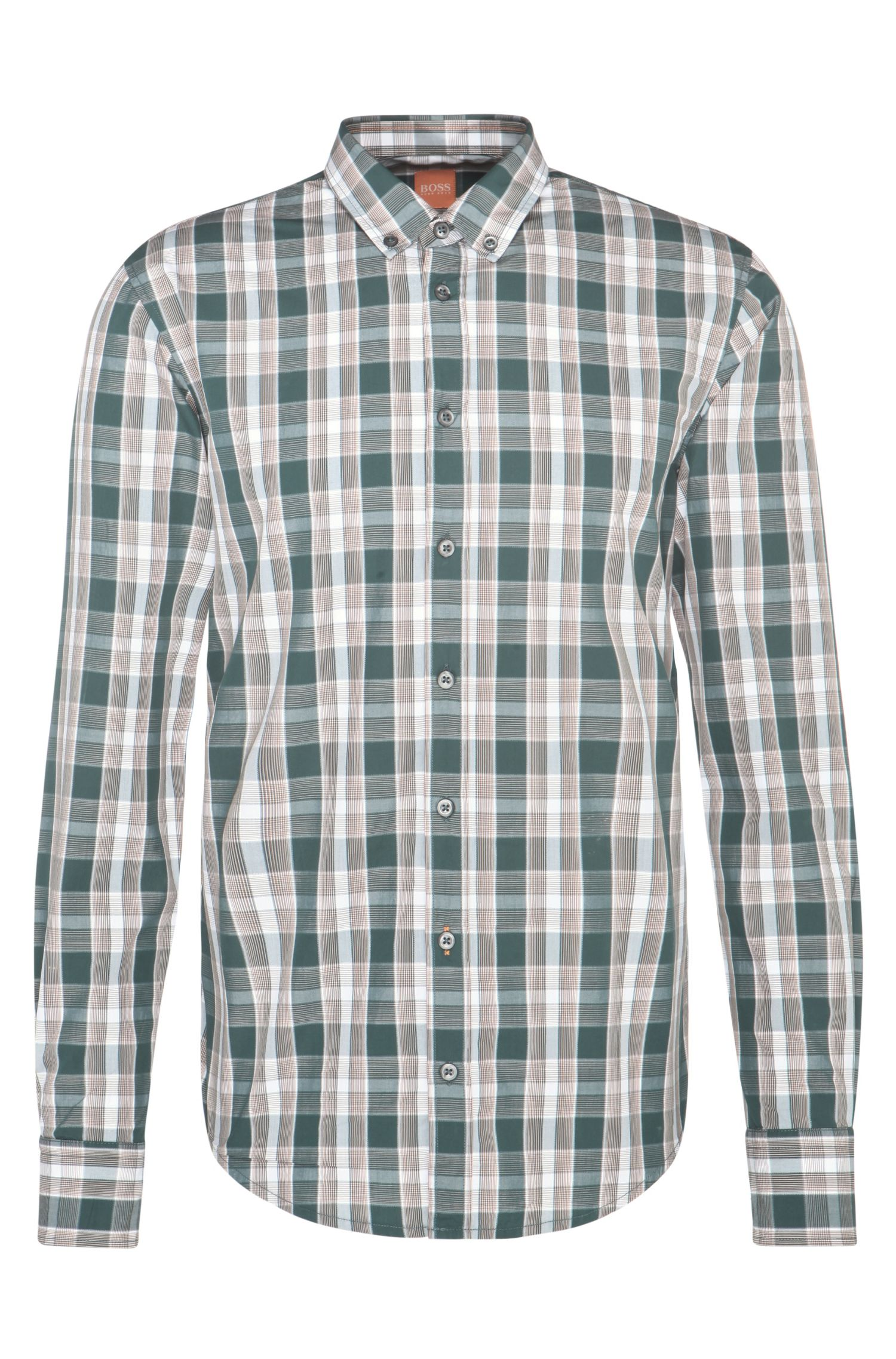 Slim-fit cotton shirt with check pattern: 'EdipoE'