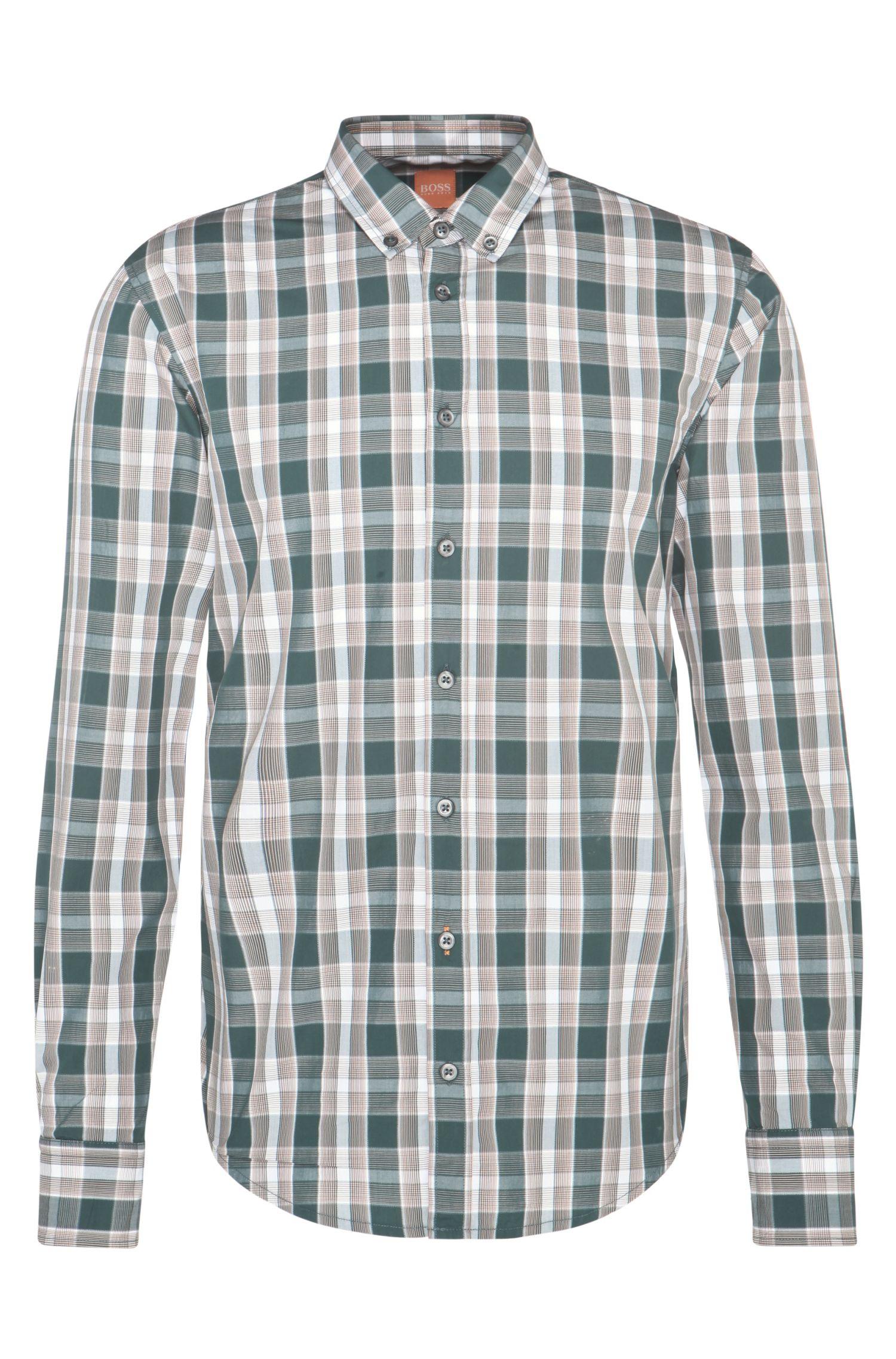 Chemise en coton Slim Fit à motif à carreaux: «EdipoE»