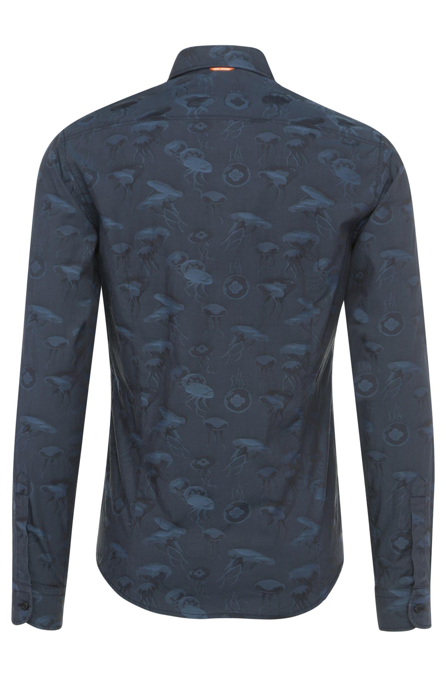 Slim-Fit Baumwollhemd mit Muster: ´EnameE`