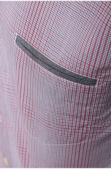 常规版特别格纹棉质T恤:'CieloebuE',  615_中红色