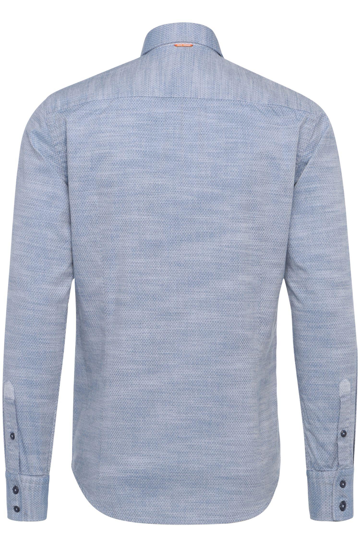Slim-fit overhemd van katoen met ruitdessin: 'EslimE'