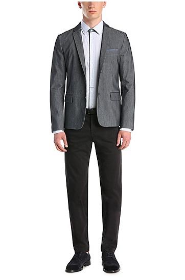 Slim-Fit Baumwollhemd mit maritimem Muster: ´EslimE`, Hellblau
