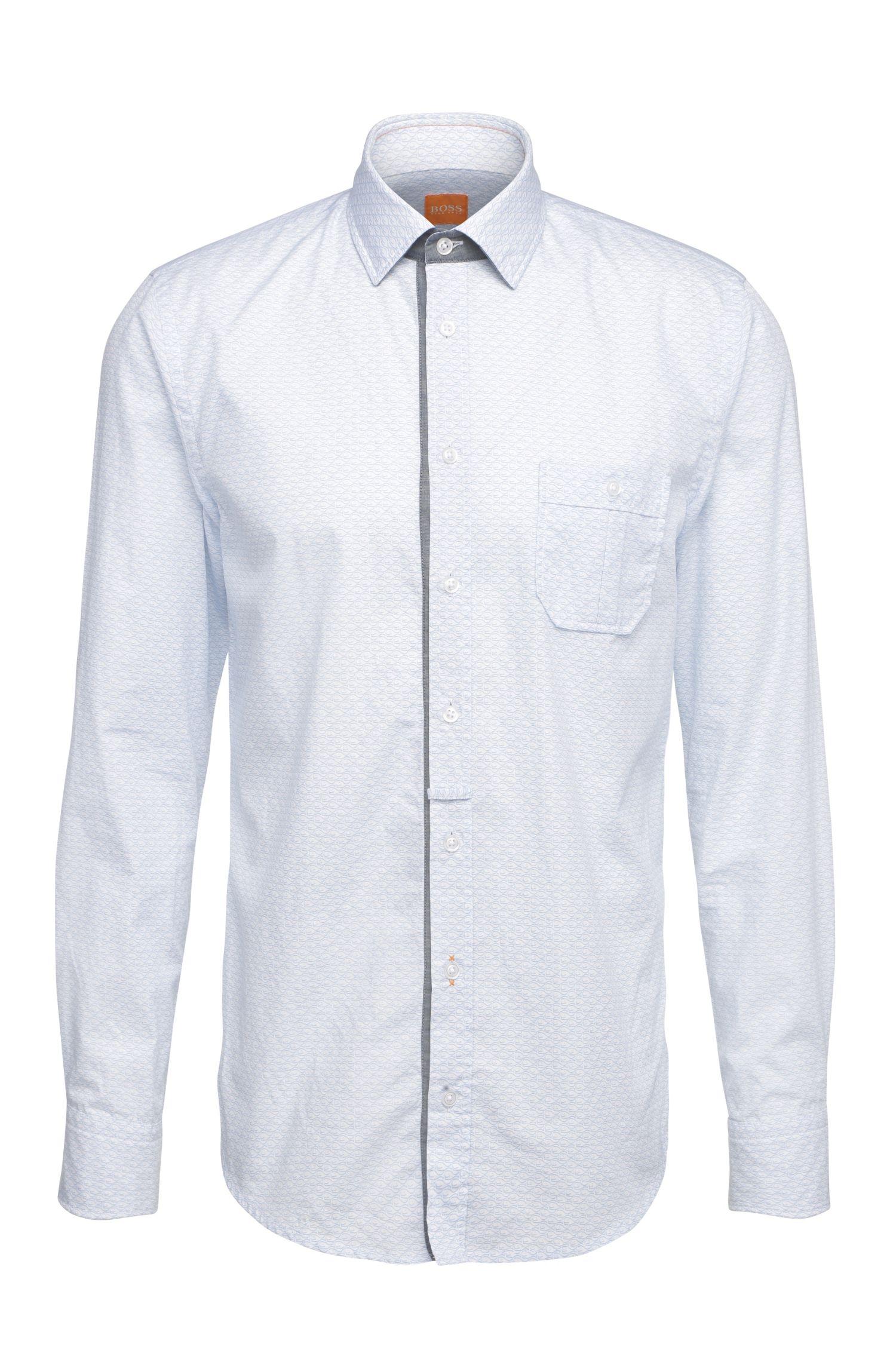 Camisa de algodón slim fit con estampado marinero: 'EslimE'